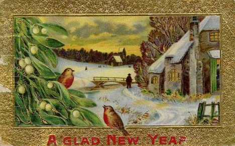 free-vintage-happy-new-year-cards-two-birds-snow-scene-mistletoe